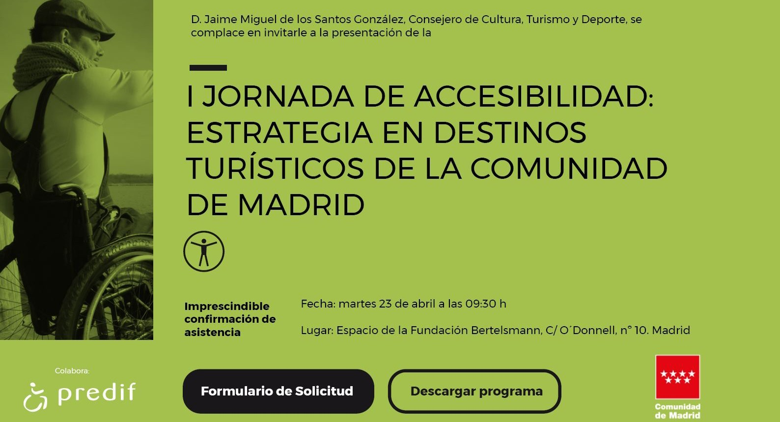 Cover photo of the event de I Jornada de Accesibilidad: estrategia en destinos turísticos de la Comunidad de Madrid