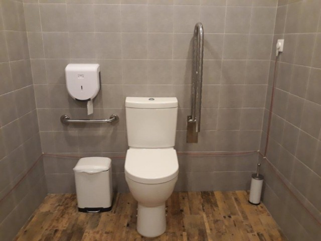 Photo/s of adapted toilet in common area - general information - stand-alone cubicle - characteristics - toilet in communal areas